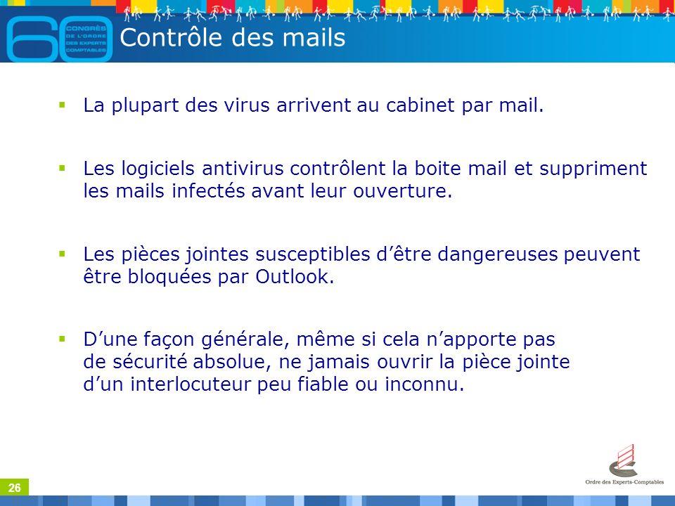26 Contrôle des mails La plupart des virus arrivent au cabinet par mail.