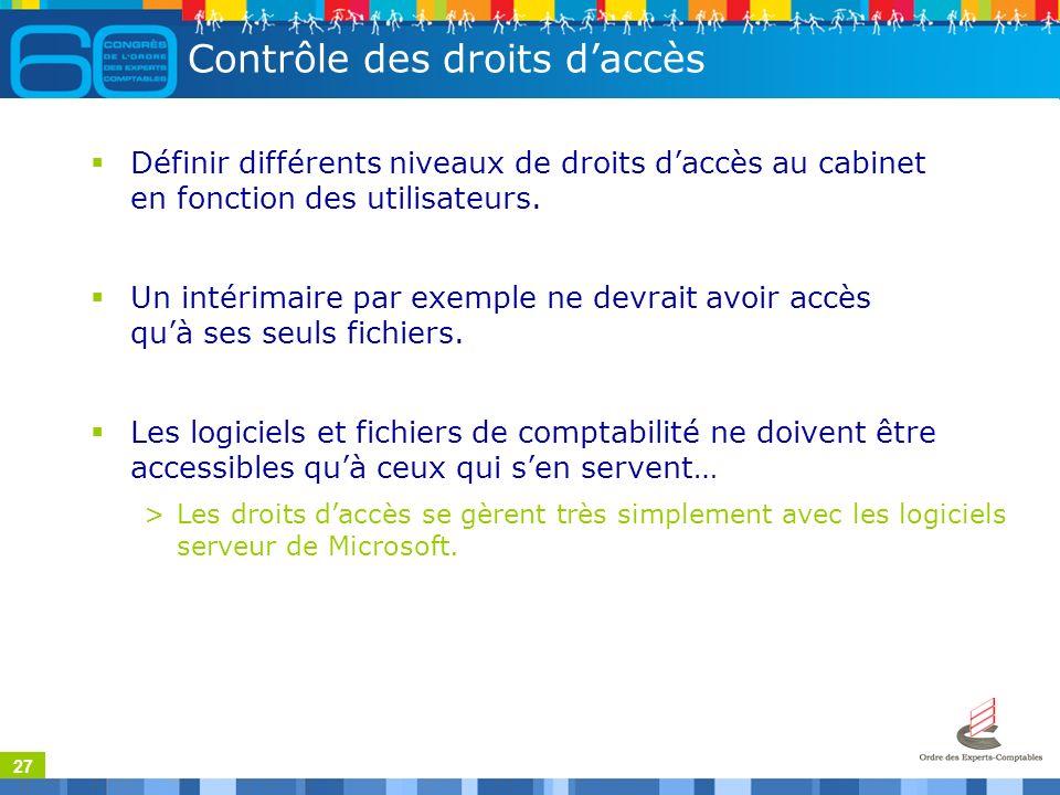 27 Contrôle des droits daccès Définir différents niveaux de droits daccès au cabinet en fonction des utilisateurs.