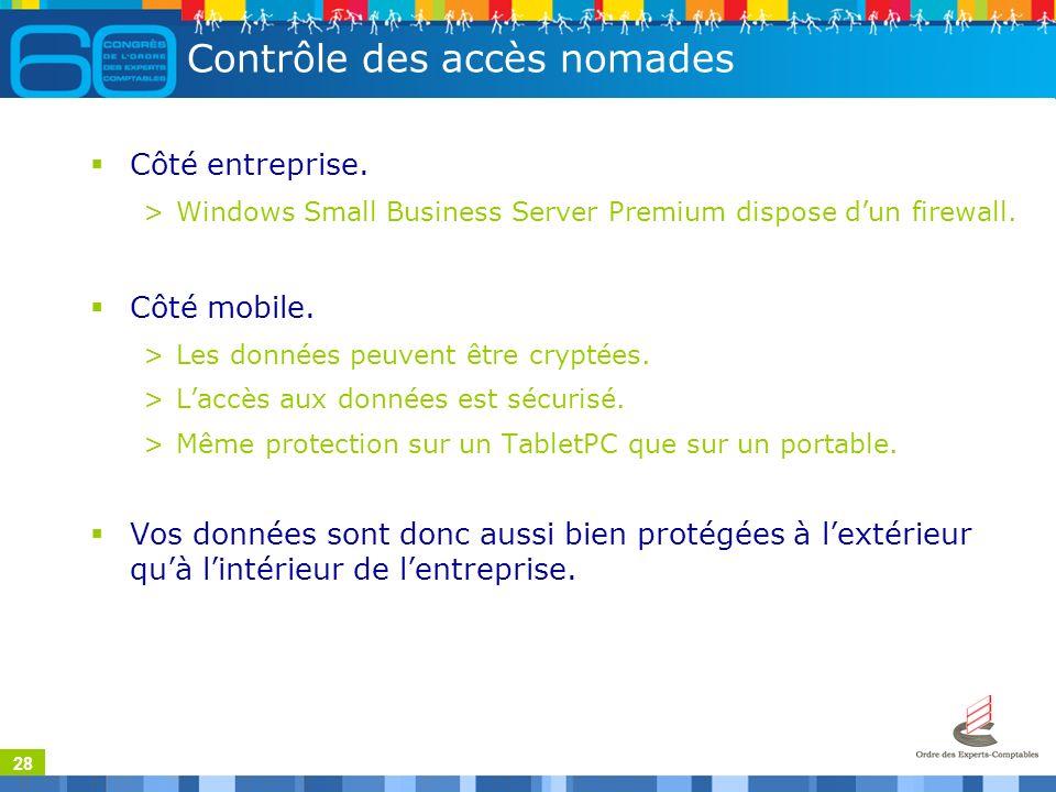 28 Contrôle des accès nomades Côté entreprise.