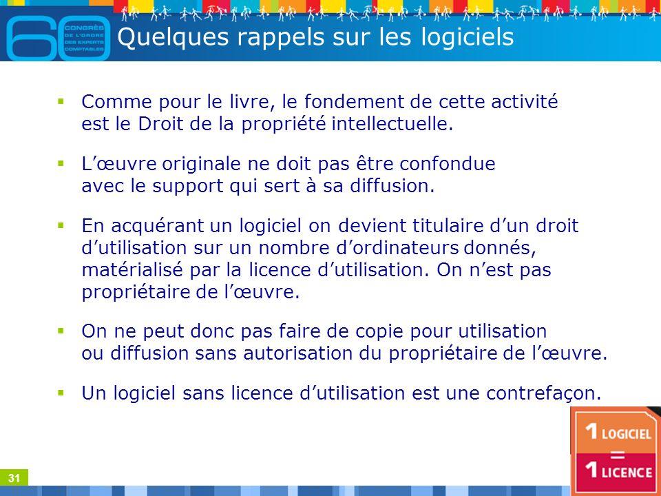 31 Quelques rappels sur les logiciels Comme pour le livre, le fondement de cette activité est le Droit de la propriété intellectuelle.