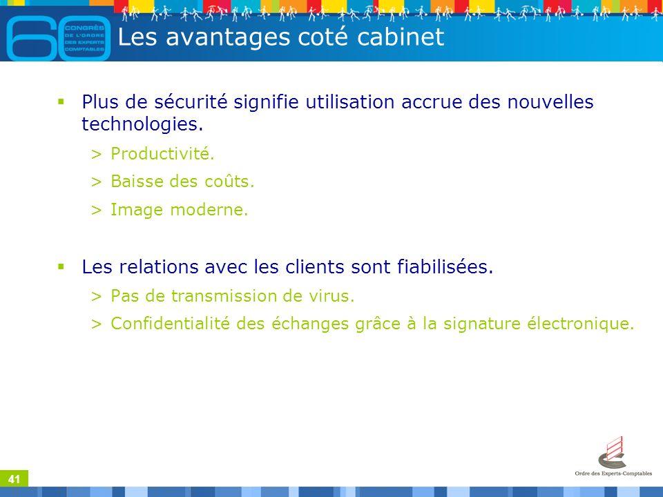 41 Les avantages coté cabinet Plus de sécurité signifie utilisation accrue des nouvelles technologies.