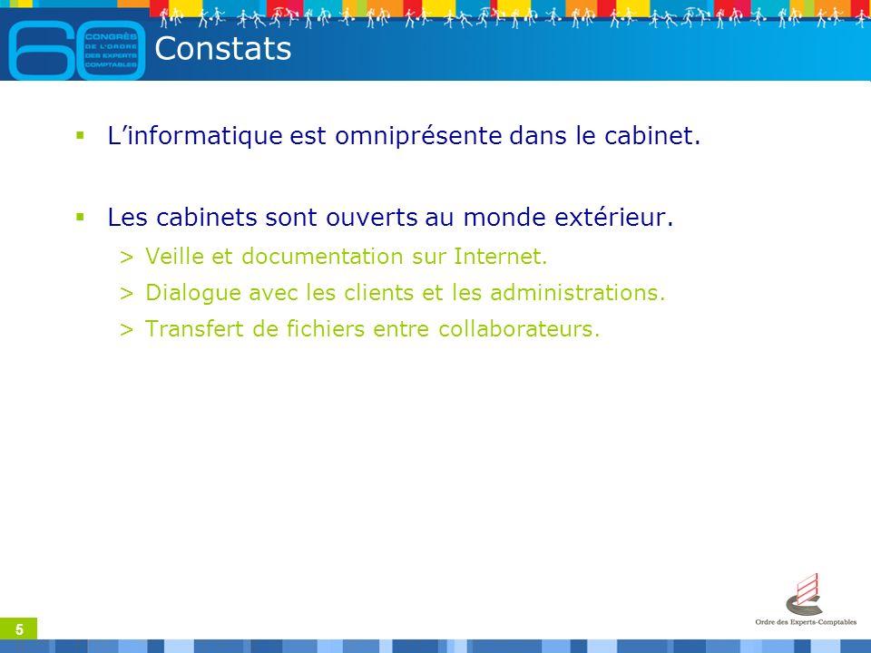 5 Constats Linformatique est omniprésente dans le cabinet.
