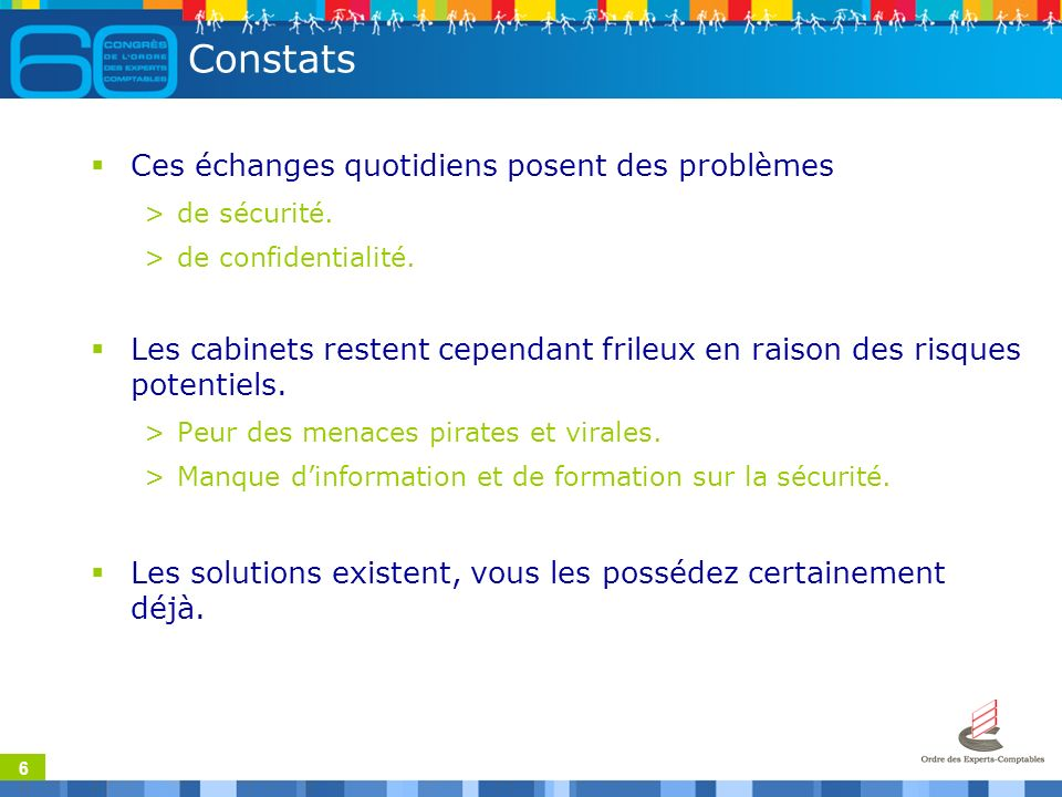 6 Constats Ces échanges quotidiens posent des problèmes >de sécurité.