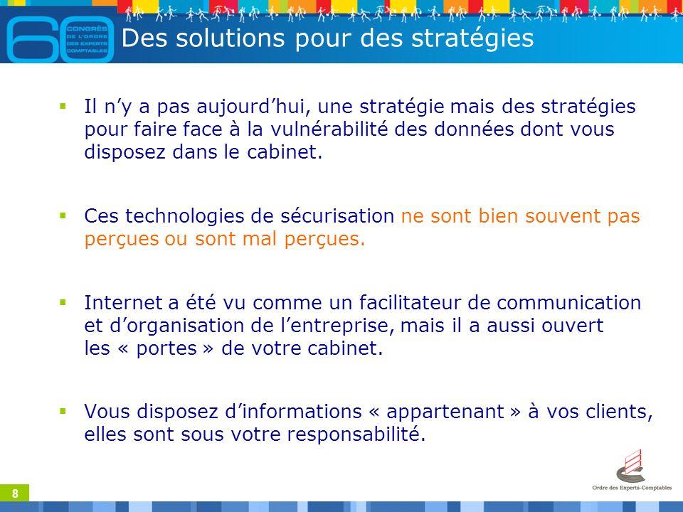 8 Des solutions pour des stratégies Il ny a pas aujourdhui, une stratégie mais des stratégies pour faire face à la vulnérabilité des données dont vous disposez dans le cabinet.
