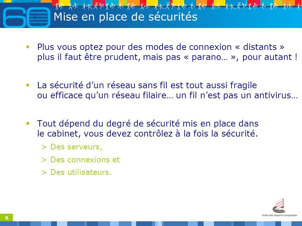 9 Mise en place de sécurités Plus vous optez pour des modes de connexion « distants » plus il faut être prudent, mais pas « parano… », pour autant .