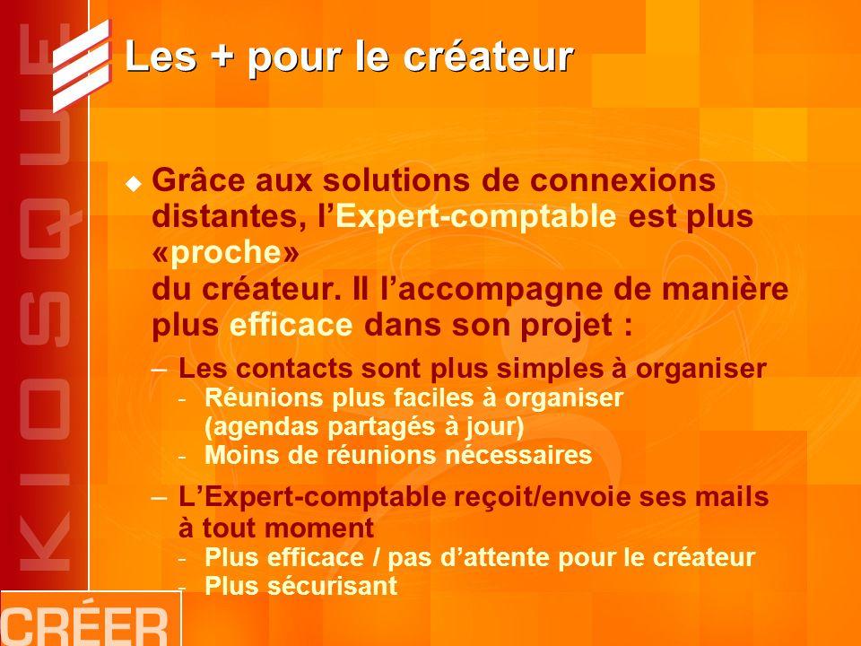 Les + pour le créateur Grâce aux solutions de connexions distantes, lExpert-comptable est plus «proche» du créateur.