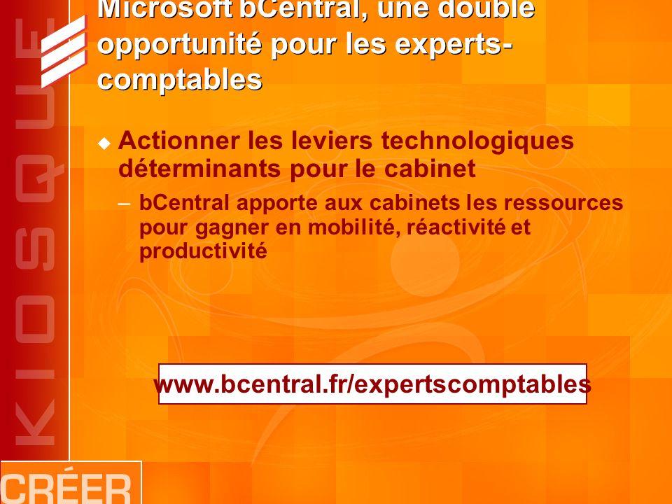 Microsoft bCentral, une double opportunité pour les experts- comptables Actionner les leviers technologiques déterminants pour le cabinet –bCentral apporte aux cabinets les ressources pour gagner en mobilité, réactivité et productivité www.bcentral.fr/expertscomptables