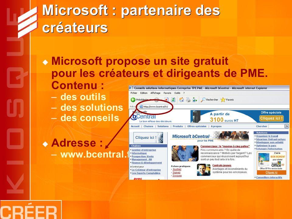 Microsoft : partenaire des créateurs Microsoft propose un site gratuit pour les créateurs et dirigeants de PME.