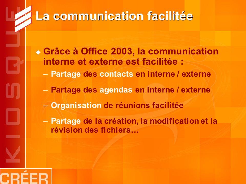 La communication facilitée Grâce à Office 2003, la communication interne et externe est facilitée : –Partage des contacts en interne / externe –Partage des agendas en interne / externe –Organisation de réunions facilitée –Partage de la création, la modification et la révision des fichiers…