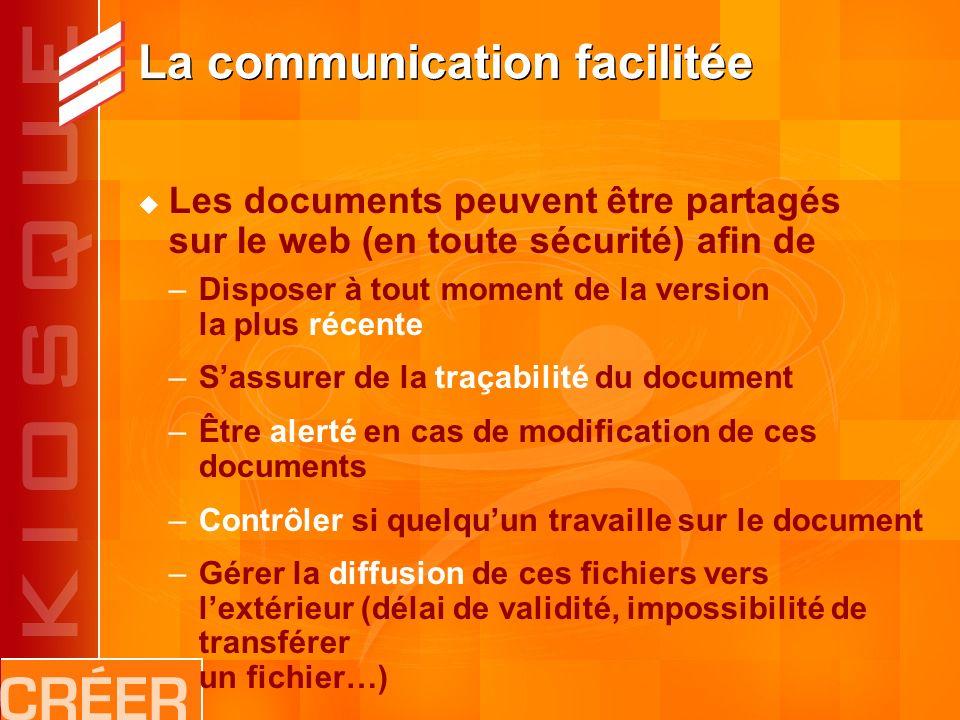 La communication facilitée Les documents peuvent être partagés sur le web (en toute sécurité) afin de –Disposer à tout moment de la version la plus récente –Sassurer de la traçabilité du document –Être alerté en cas de modification de ces documents –Contrôler si quelquun travaille sur le document –Gérer la diffusion de ces fichiers vers lextérieur (délai de validité, impossibilité de transférer un fichier…)
