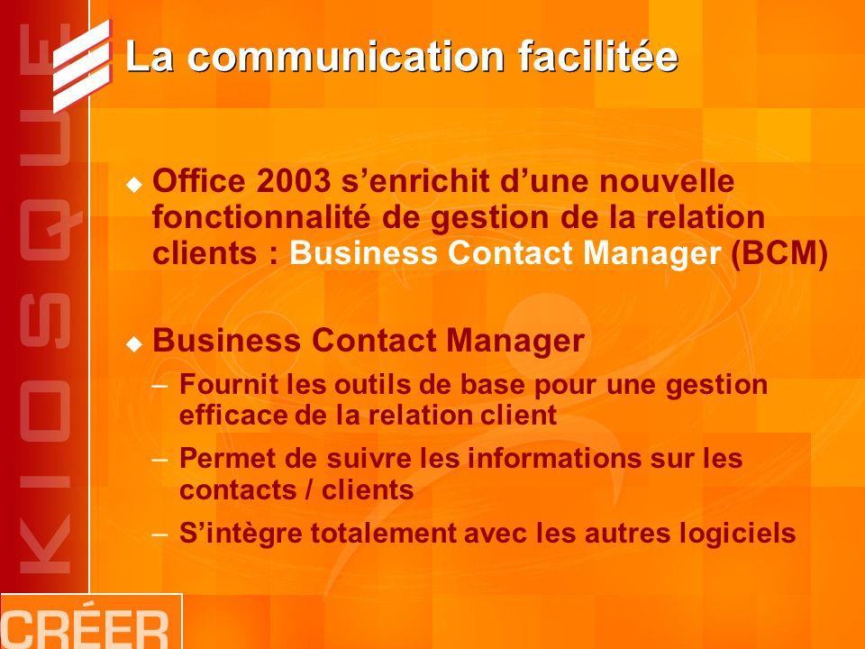 La communication facilitée Office 2003 senrichit dune nouvelle fonctionnalité de gestion de la relation clients : Business Contact Manager (BCM) Business Contact Manager –Fournit les outils de base pour une gestion efficace de la relation client –Permet de suivre les informations sur les contacts / clients –Sintègre totalement avec les autres logiciels