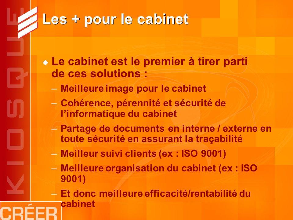 Les + pour le cabinet Le cabinet est le premier à tirer parti de ces solutions : –Meilleure image pour le cabinet –Cohérence, pérennité et sécurité de linformatique du cabinet –Partage de documents en interne / externe en toute sécurité en assurant la traçabilité –Meilleur suivi clients (ex : ISO 9001) –Meilleure organisation du cabinet (ex : ISO 9001) –Et donc meilleure efficacité/rentabilité du cabinet