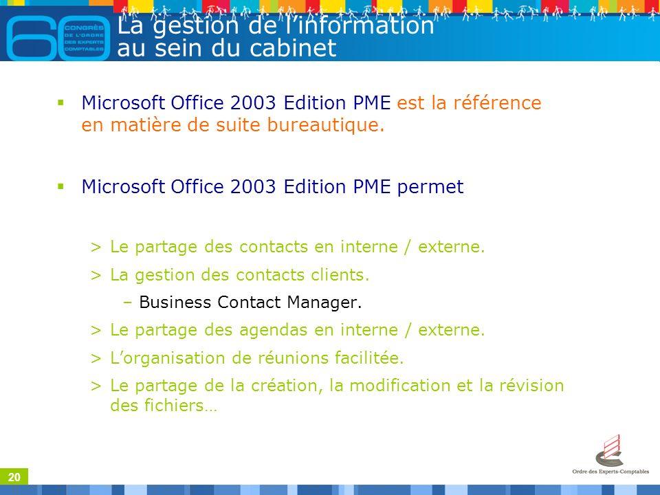 20 La gestion de linformation au sein du cabinet Microsoft Office 2003 Edition PME est la référence en matière de suite bureautique. Microsoft Office