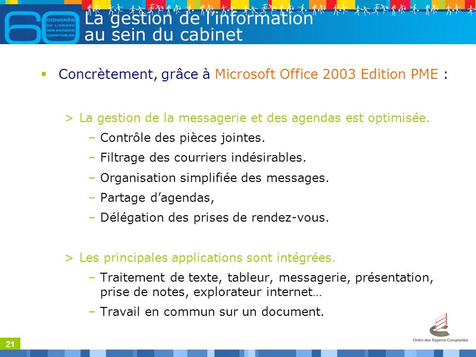 21 La gestion de linformation au sein du cabinet Concrètement, grâce à Microsoft Office 2003 Edition PME : >La gestion de la messagerie et des agendas