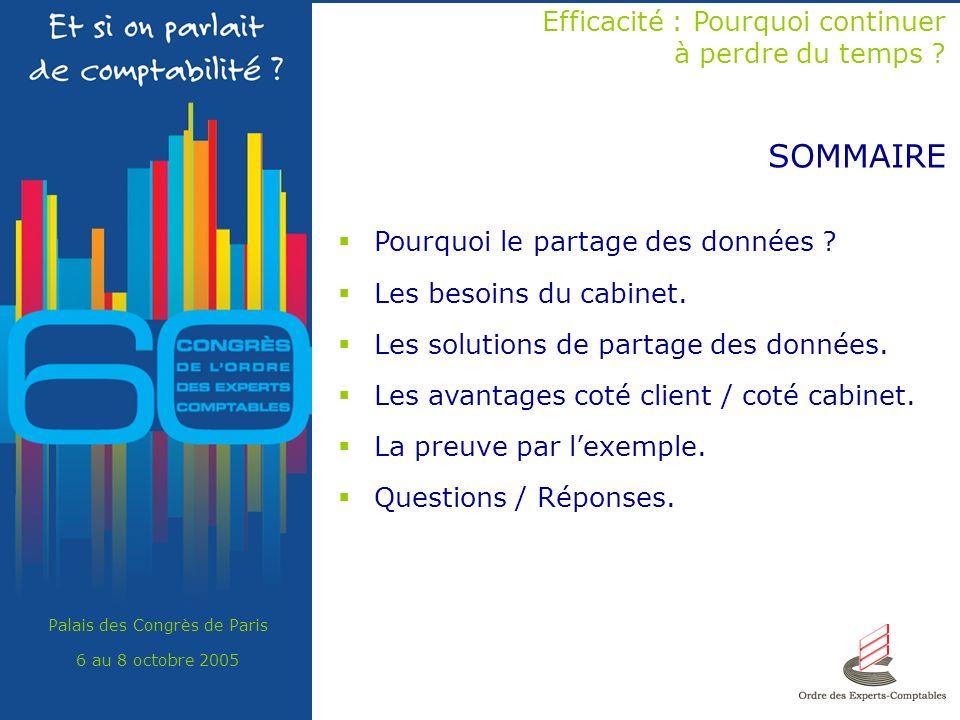 Palais des Congrès de Paris 6 au 8 octobre 2005 SOMMAIRE Efficacité : Pourquoi continuer à perdre du temps ? Pourquoi le partage des données ? Les bes