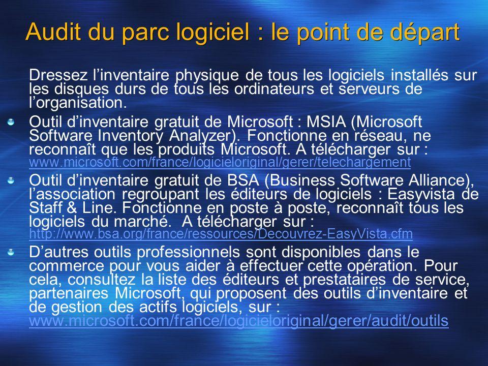 Audit du parc logiciel : le point de départ Dressez linventaire physique de tous les logiciels installés sur les disques durs de tous les ordinateurs
