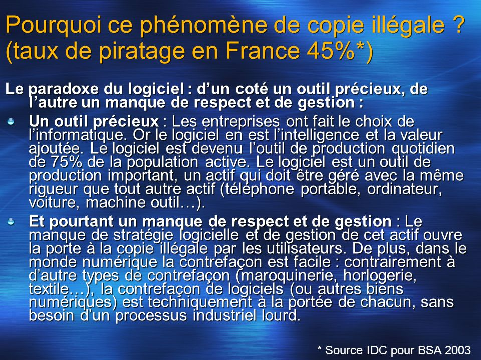 Pourquoi ce phénomène de copie illégale ? (taux de piratage en France 45%*) Le paradoxe du logiciel : dun coté un outil précieux, de lautre un manque