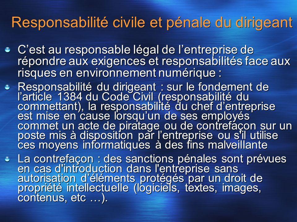 Responsabilité civile et pénale du dirigeant Cest au responsable légal de lentreprise de répondre aux exigences et responsabilités face aux risques en