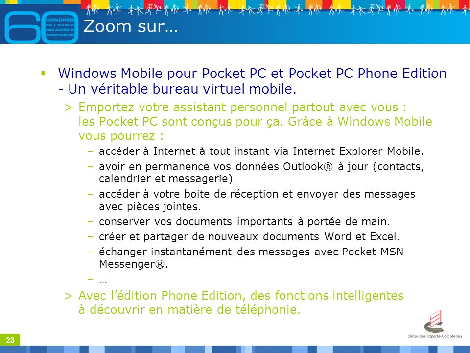 23 Zoom sur… Windows Mobile pour Pocket PC et Pocket PC Phone Edition - Un véritable bureau virtuel mobile.