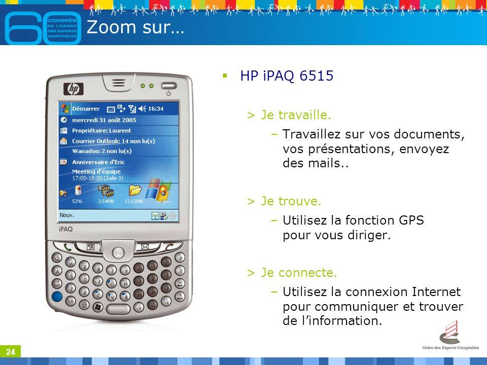 24 Zoom sur… HP iPAQ 6515 >Je travaille.