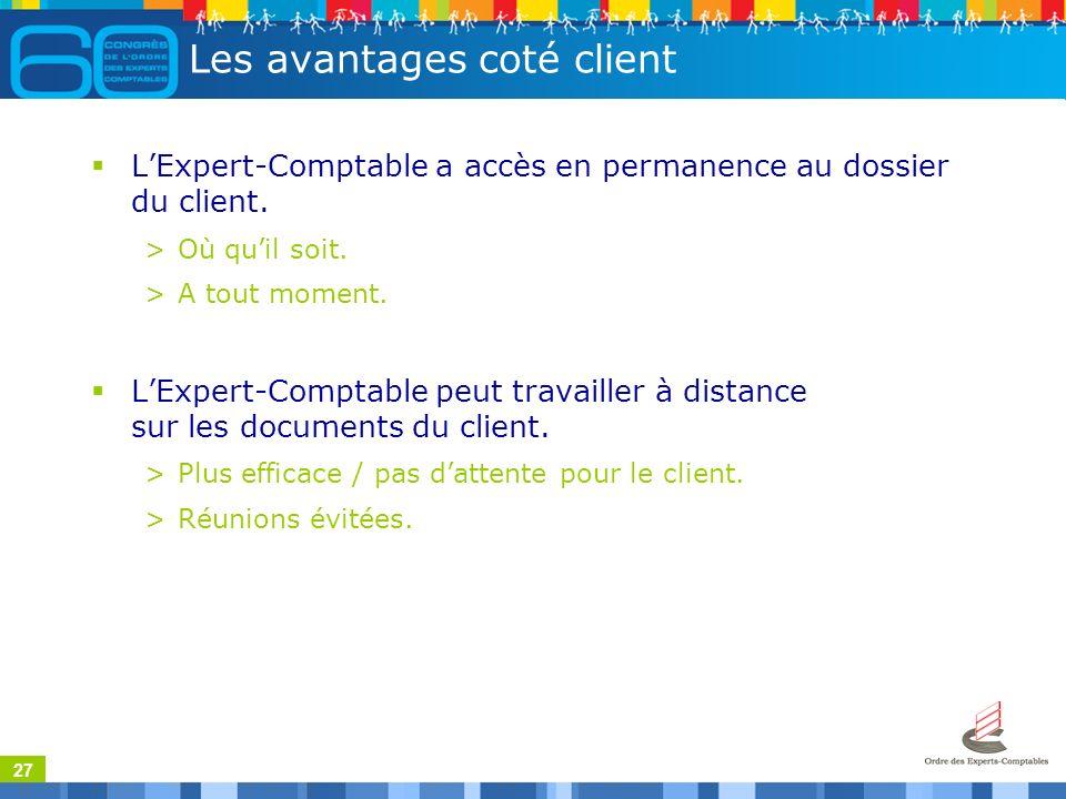 27 Les avantages coté client LExpert-Comptable a accès en permanence au dossier du client.
