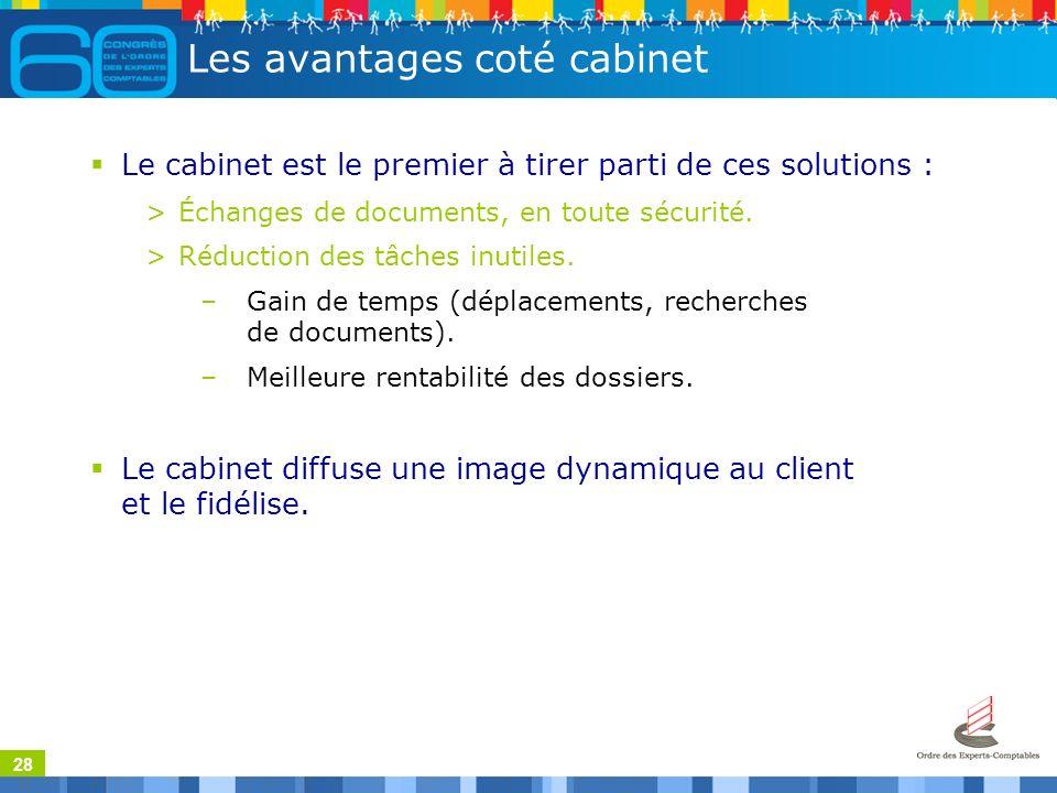 28 Les avantages coté cabinet Le cabinet est le premier à tirer parti de ces solutions : >Échanges de documents, en toute sécurité.