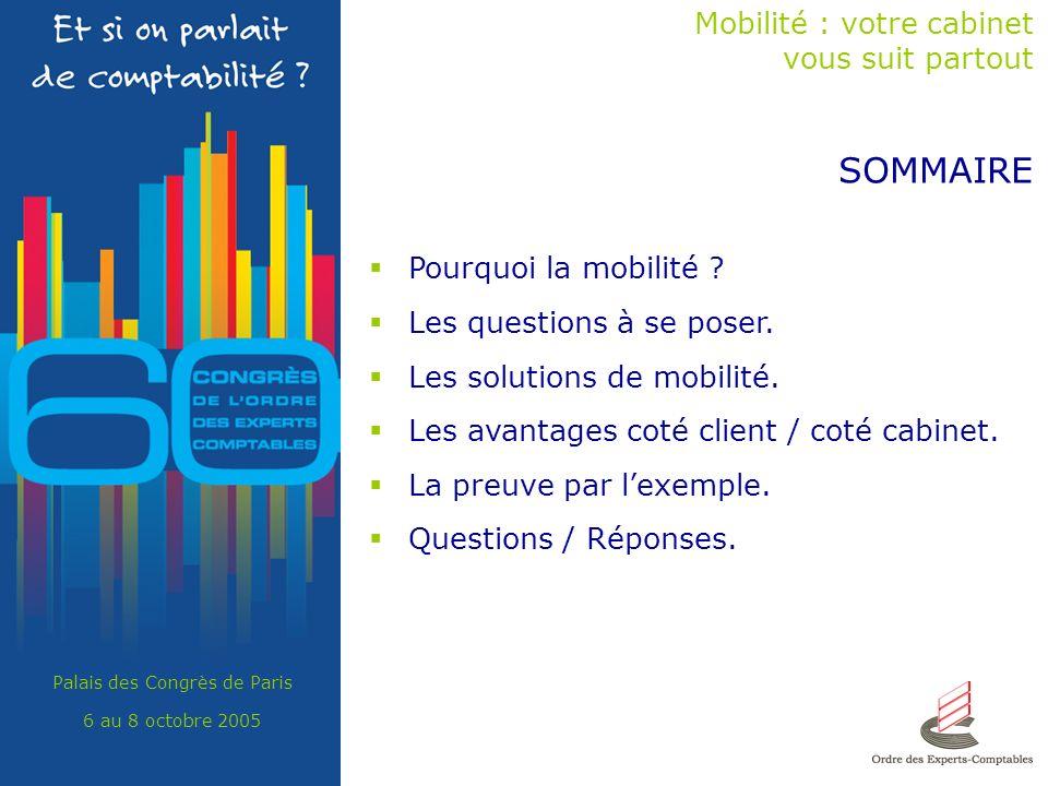 Palais des Congrès de Paris 6 au 8 octobre 2005 SOMMAIRE Mobilité : votre cabinet vous suit partout Pourquoi la mobilité .