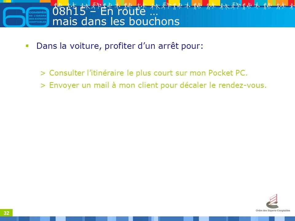 32 08h15 – En route … mais dans les bouchons Dans la voiture, profiter dun arrêt pour: >Consulter litinéraire le plus court sur mon Pocket PC.