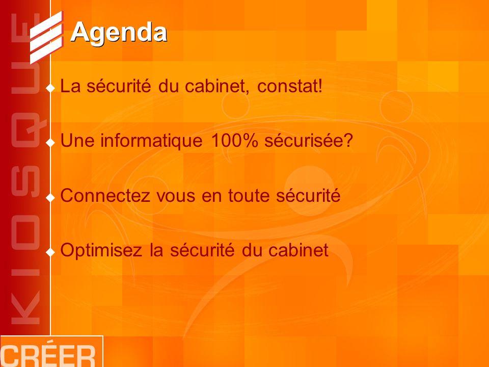 Agenda La sécurité du cabinet, constat. Une informatique 100% sécurisée.