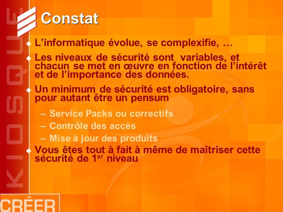 Constat Linformatique évolue, se complexifie, … Les niveaux de sécurité sont variables, et chacun se met en œuvre en fonction de lintérêt et de limportance des données.