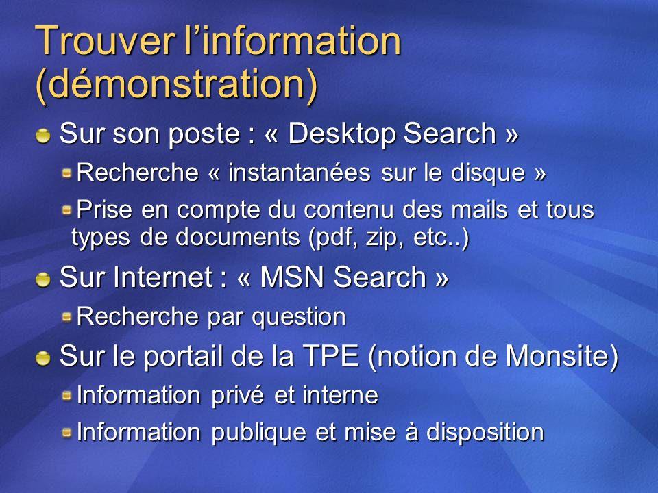 Trouver linformation (démonstration) Sur son poste : « Desktop Search » Recherche « instantanées sur le disque » Prise en compte du contenu des mails