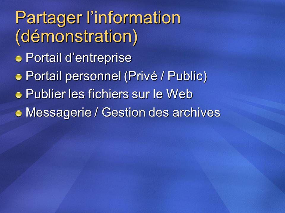 Partager linformation (démonstration) Portail dentreprise Portail personnel (Privé / Public) Publier les fichiers sur le Web Messagerie / Gestion des