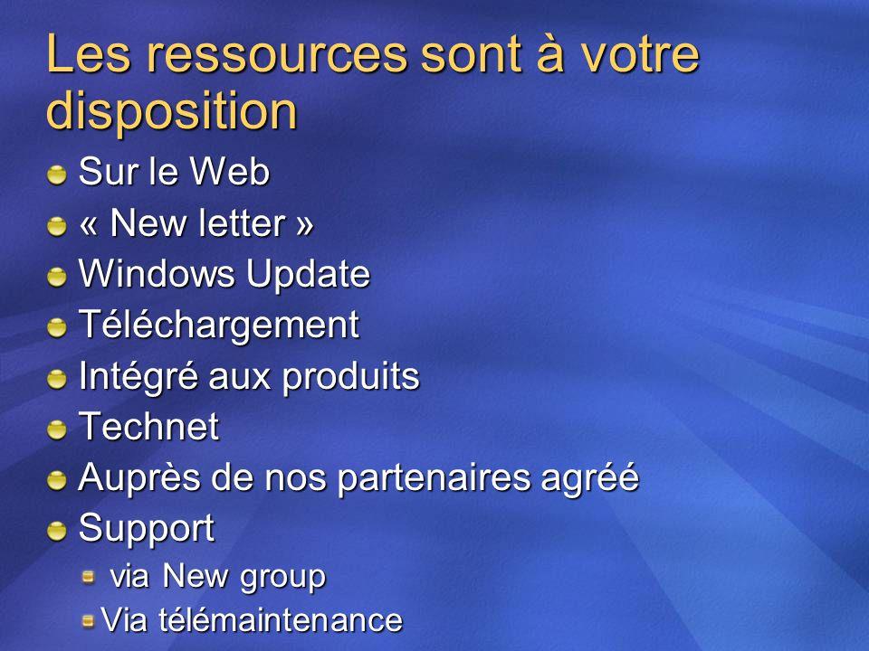 Les ressources sont à votre disposition Sur le Web « New letter » Windows Update Téléchargement Intégré aux produits Technet Auprès de nos partenaires