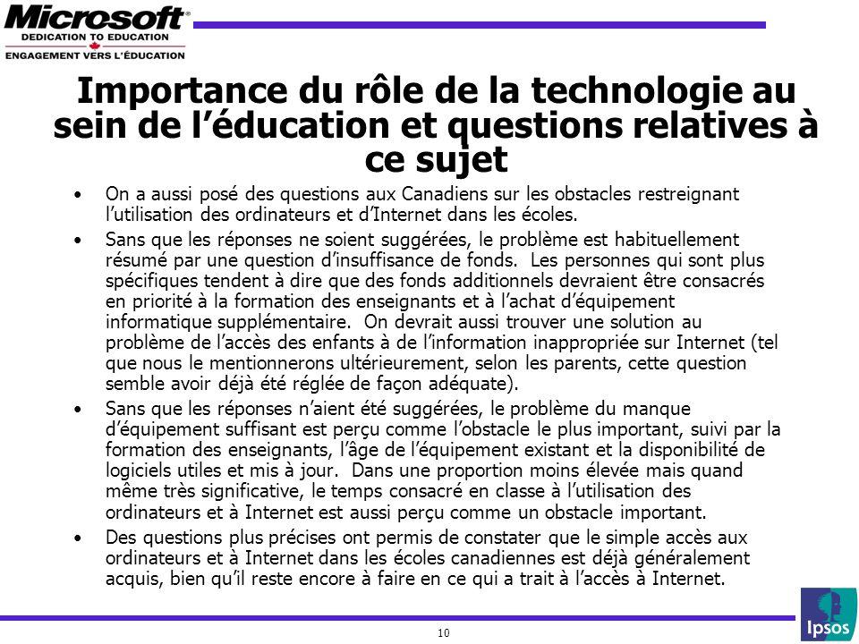 10 Importance du rôle de la technologie au sein de léducation et questions relatives à ce sujet On a aussi posé des questions aux Canadiens sur les ob