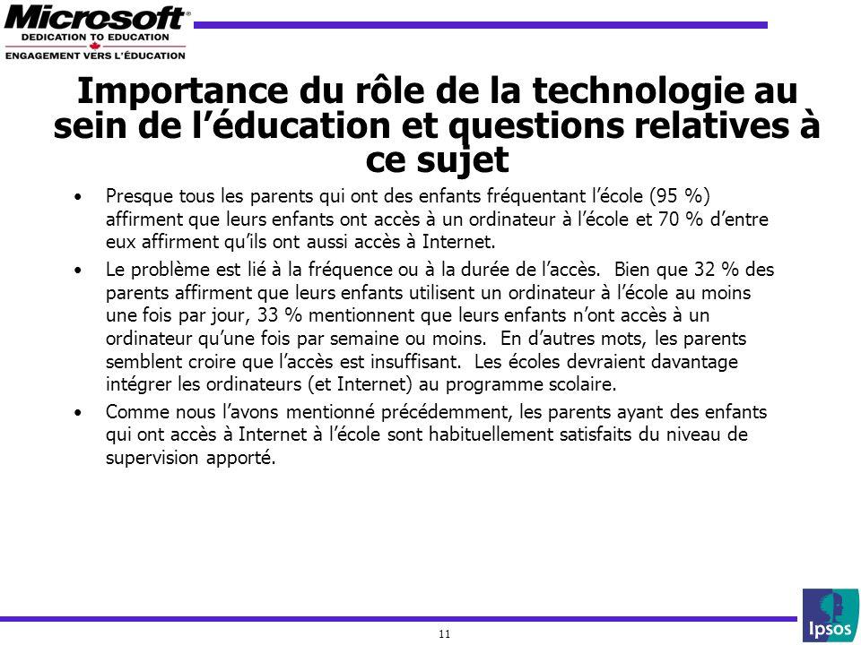 11 Importance du rôle de la technologie au sein de léducation et questions relatives à ce sujet Presque tous les parents qui ont des enfants fréquenta