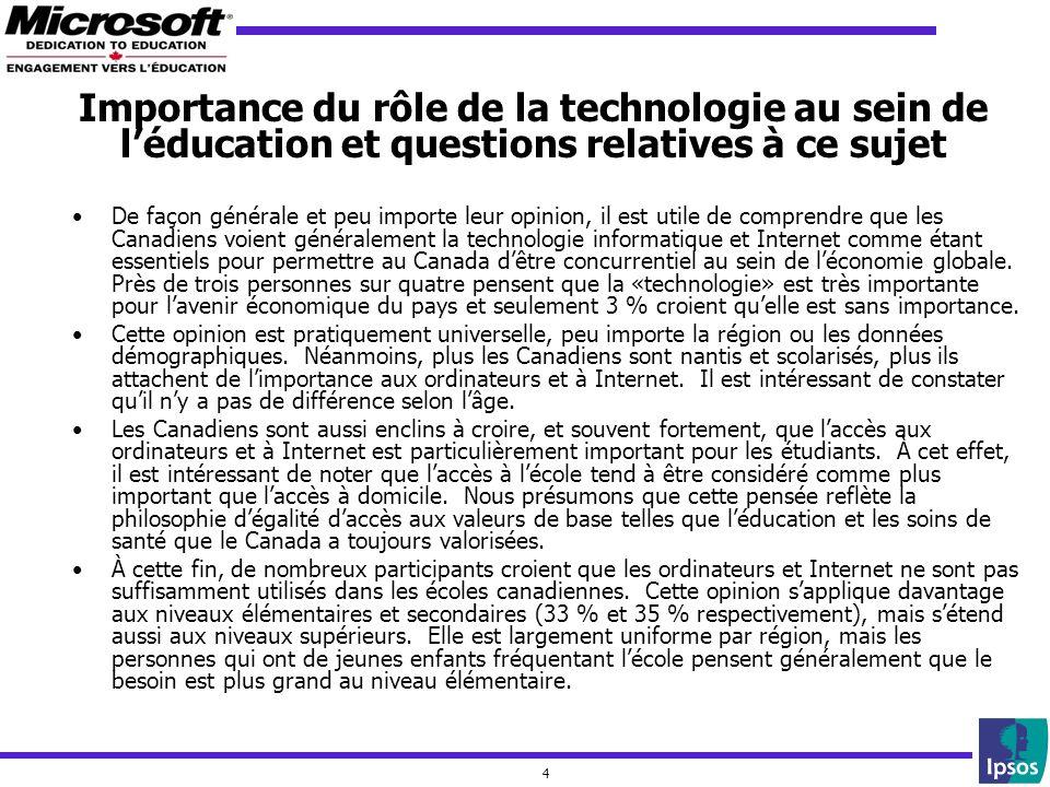 4 De façon générale et peu importe leur opinion, il est utile de comprendre que les Canadiens voient généralement la technologie informatique et Internet comme étant essentiels pour permettre au Canada dêtre concurrentiel au sein de léconomie globale.