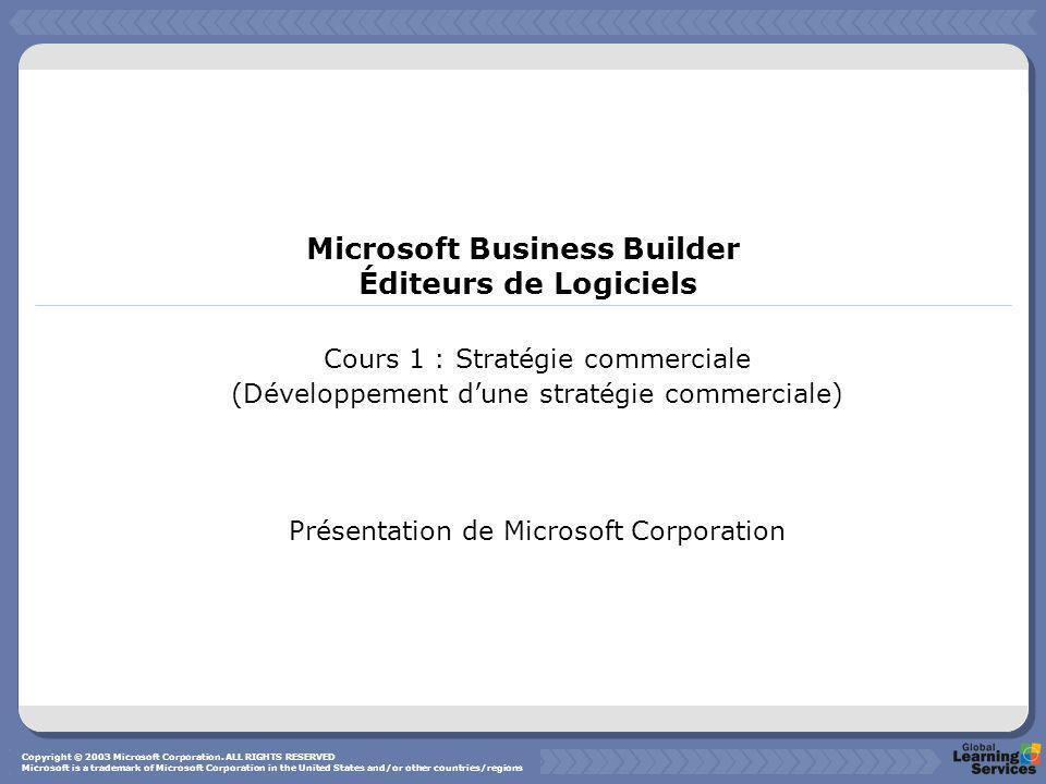 Introduction au Programme Business Builder Stratégie commerciale ( Cours 1) Généralités Copyright © 2003 Microsoft Corporation.