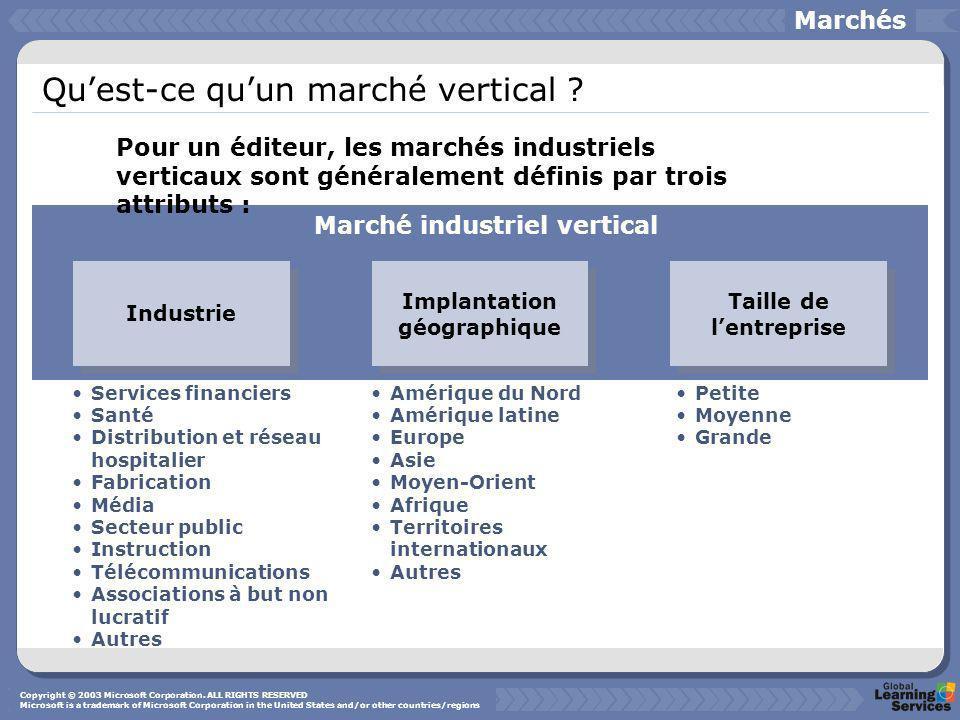 Quest-ce quun marché vertical ? Marchés Industrie Implantation géographique Taille de lentreprise Services financiers Santé Distribution et réseau hos
