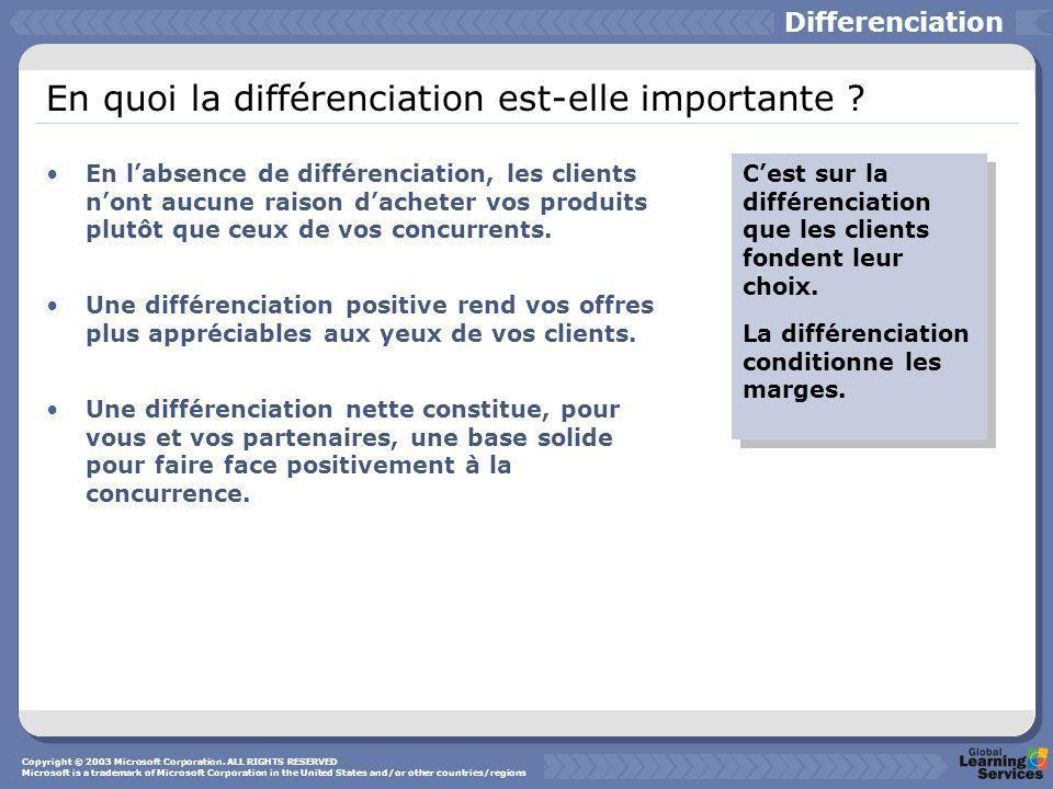 En quoi la différenciation est-elle importante ? En labsence de différenciation, les clients nont aucune raison dacheter vos produits plutôt que ceux