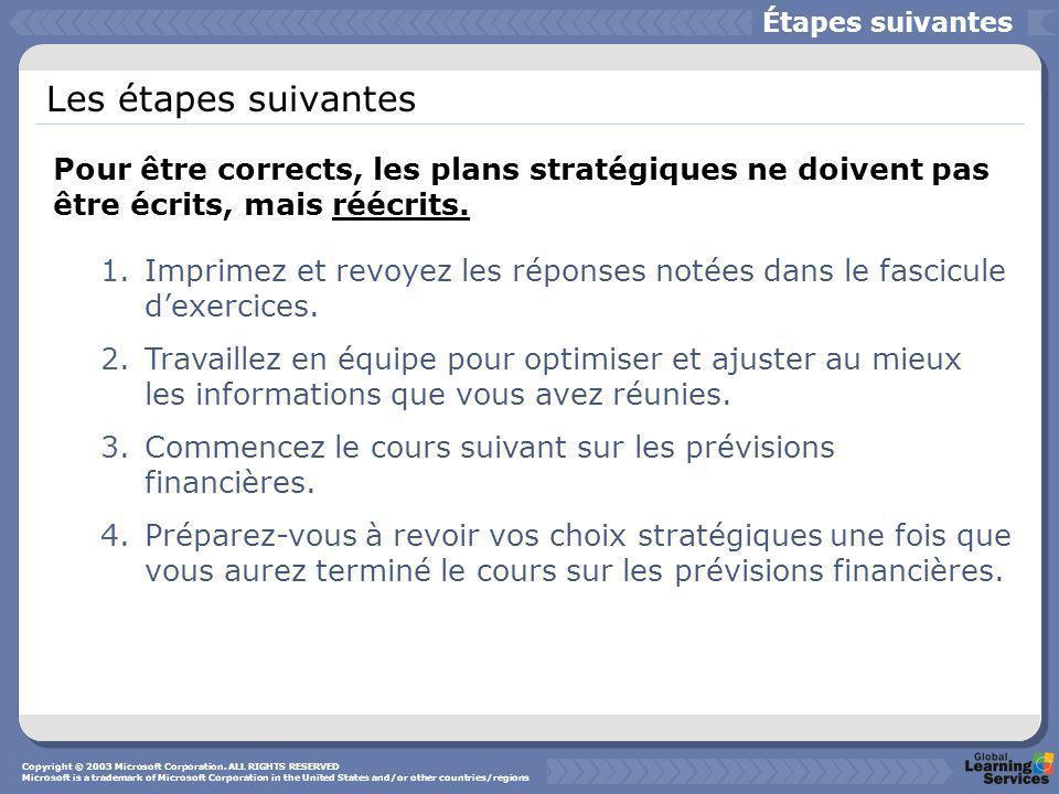 Les étapes suivantes 1.Imprimez et revoyez les réponses notées dans le fascicule dexercices. 2.Travaillez en équipe pour optimiser et ajuster au mieux