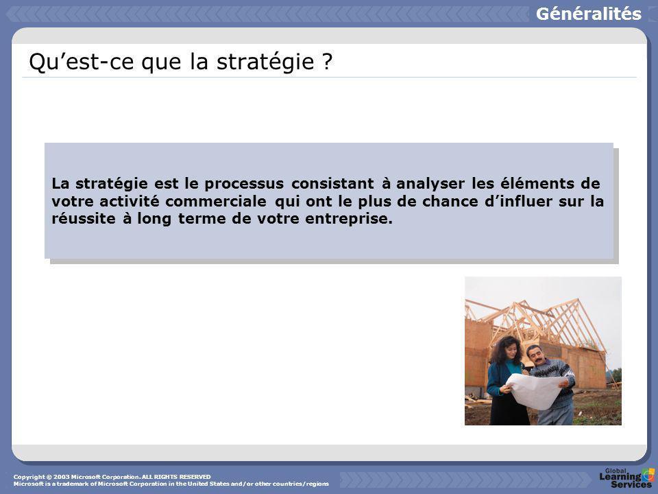 Quest-ce que la stratégie ? La stratégie est le processus consistant à analyser les éléments de votre activité commerciale qui ont le plus de chance d