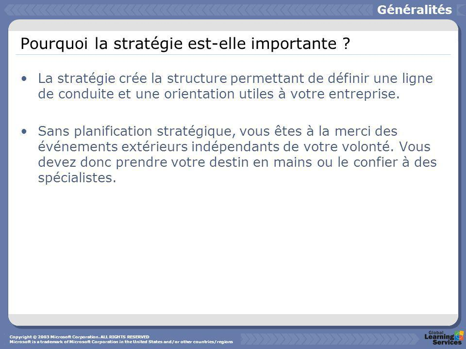 Pourquoi la stratégie est-elle importante ? La stratégie crée la structure permettant de définir une ligne de conduite et une orientation utiles à vot