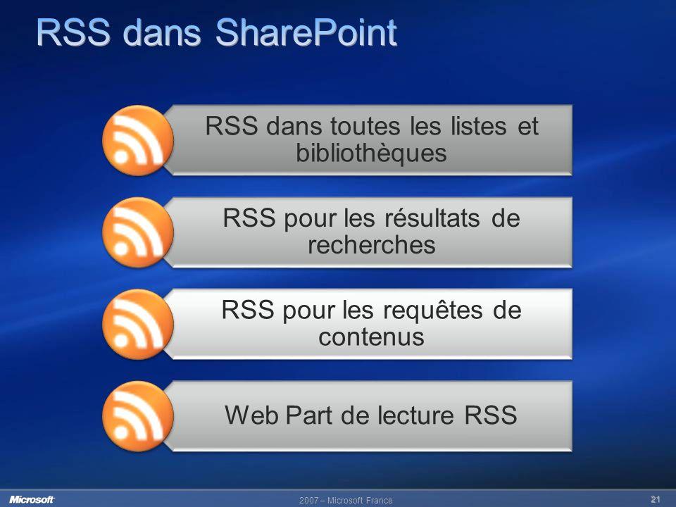 2007 – Microsoft France 21 RSS dans toutes les listes et bibliothèques RSS pour les résultats de recherches RSS pour les requêtes de contenus Web Part