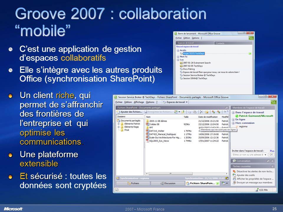 25 Cest une application de gestion despaces collaboratifs Elle sintègre avec les autres produits Office (synchronisation SharePoint) Cest une applicat