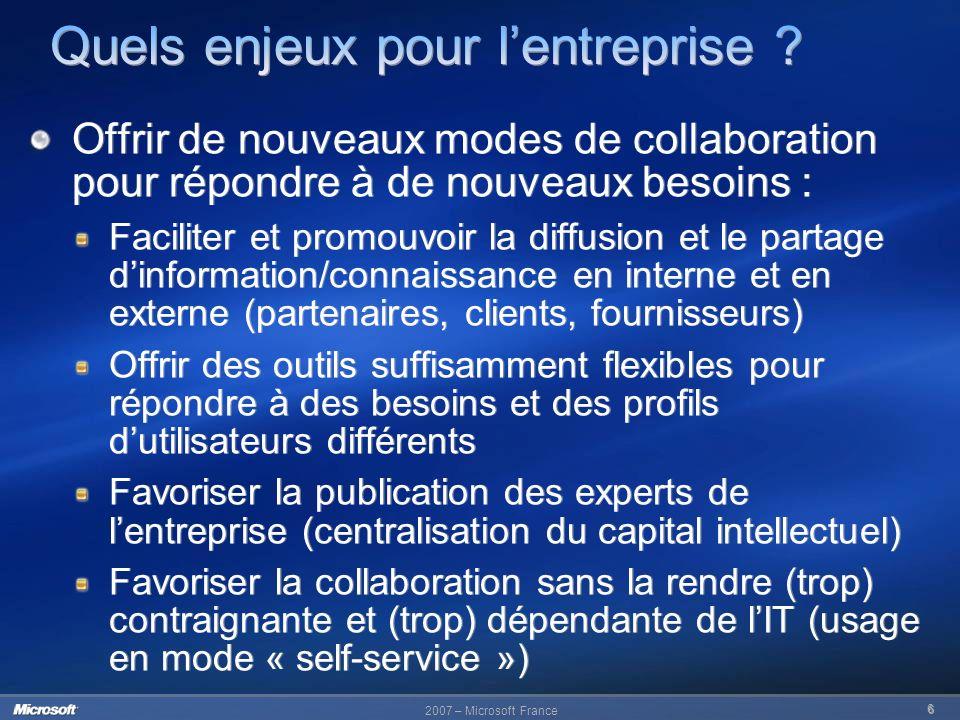 2007 – Microsoft France 6 Offrir de nouveaux modes de collaboration pour répondre à de nouveaux besoins : Faciliter et promouvoir la diffusion et le p