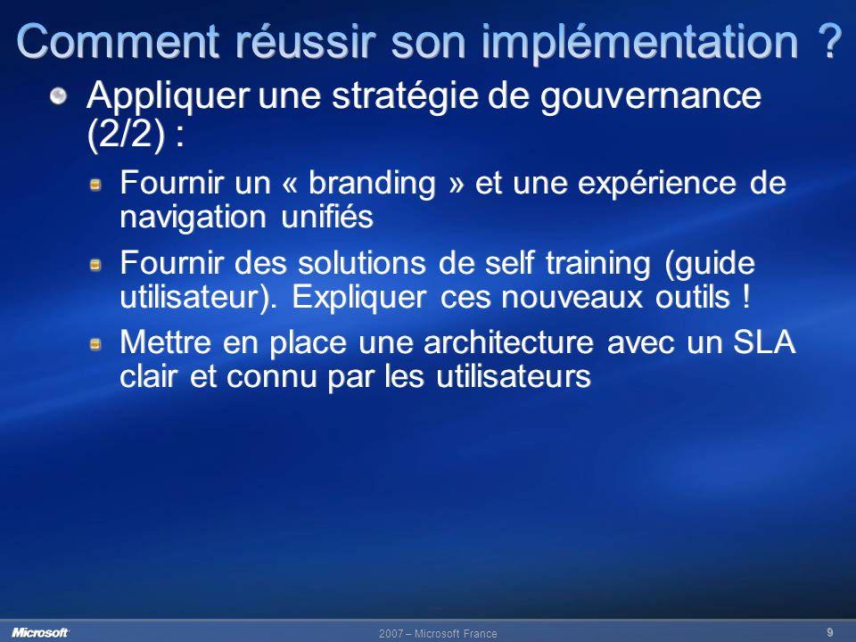 2007 – Microsoft France 9 Appliquer une stratégie de gouvernance (2/2) : Fournir un « branding » et une expérience de navigation unifiés Fournir des s