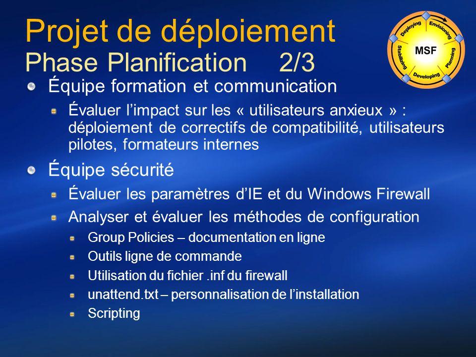 Projet de déploiement Phase Planification 2/3 Équipe formation et communication Évaluer limpact sur les « utilisateurs anxieux » : déploiement de corr