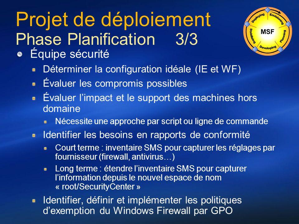 Projet de déploiement Phase Planification 3/3 Équipe sécurité Déterminer la configuration idéale (IE et WF) Évaluer les compromis possibles Évaluer li