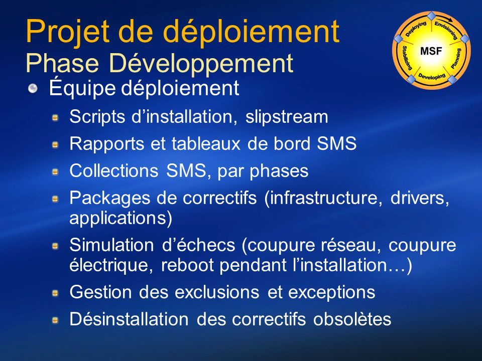 Projet de déploiement Phase Développement Équipe déploiement Scripts dinstallation, slipstream Rapports et tableaux de bord SMS Collections SMS, par p