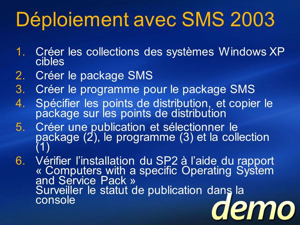 Déploiement avec SMS 2003 Créer les collections des systèmes Windows XP cibles Créer le package SMS Créer le programme pour le package SMS Spécifier l